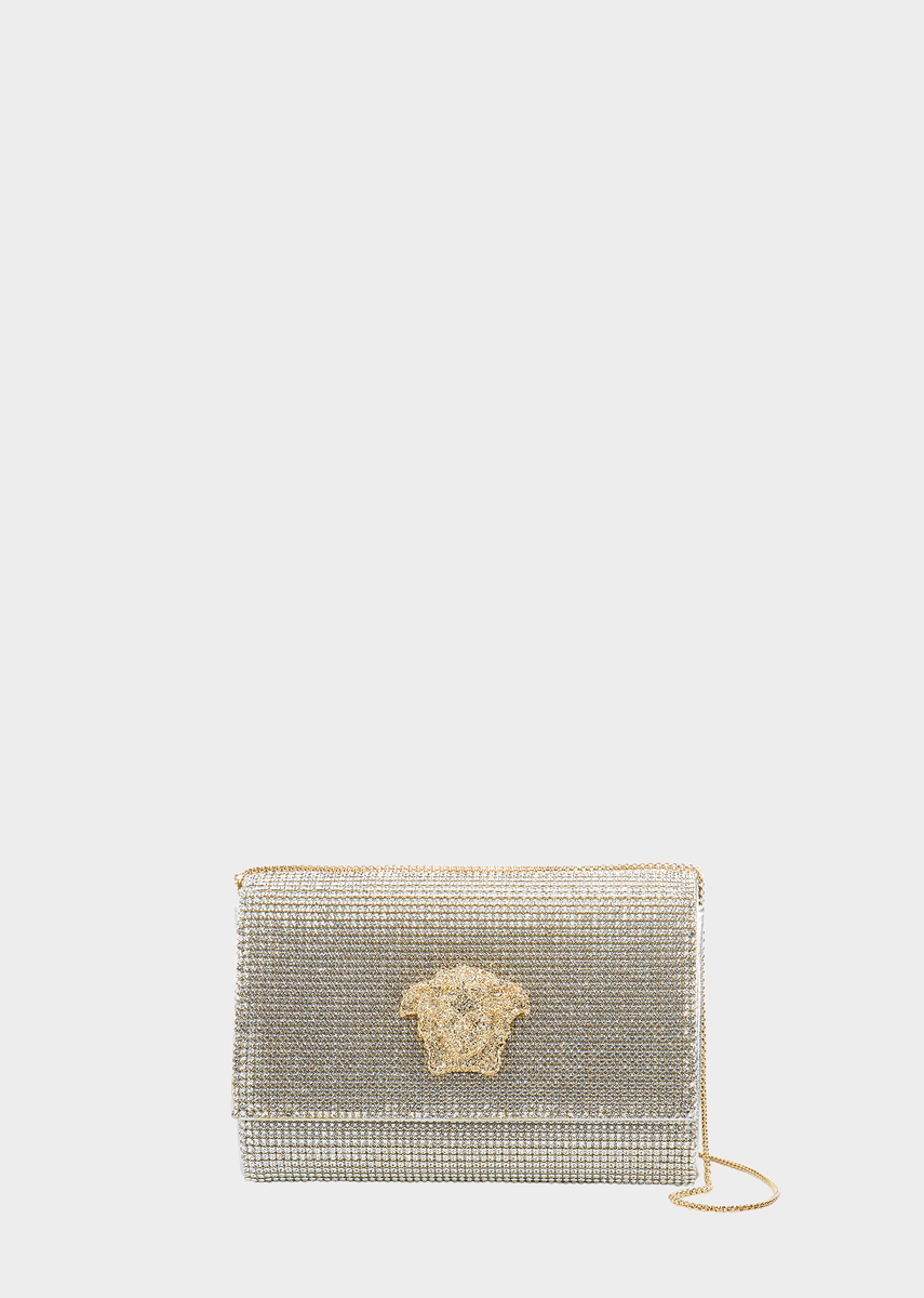 9dac434c1d Swarovski Crystal Mesh Clutch by Versace for Women s Bags. Swarovski crystal  covered clutch bag with chain strap and Medusa head feature.
