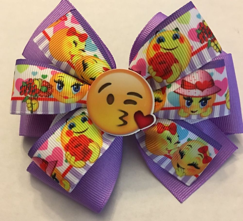 Hair bow button accessories - Emoji Emoticon Inspired Girl S Baby Toddler Hair Bow Emoji Ribbon Clip Accessory