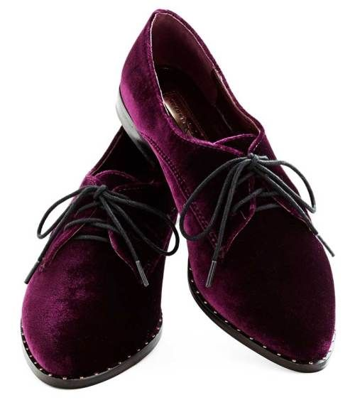 Purple Velvet Oxfords - Topshop