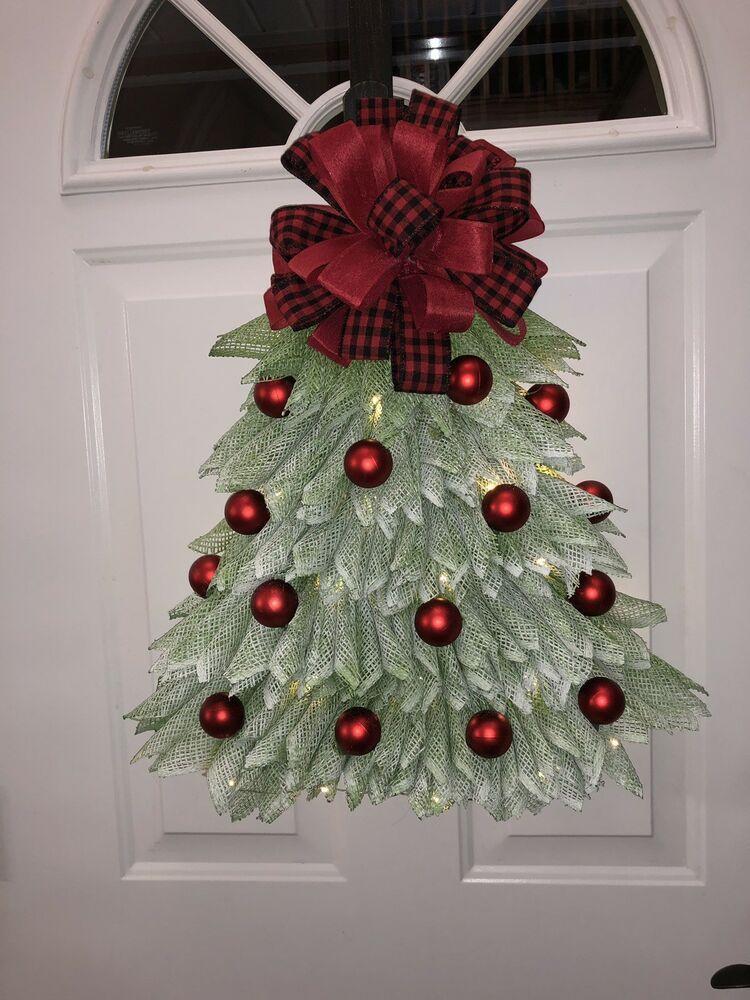 22 Handmade Deco Mesh Christmas Tree Wreath Door Hanger W Lights Ebay Mesh Christmas Tree Types Of Christmas Trees Christmas Tree