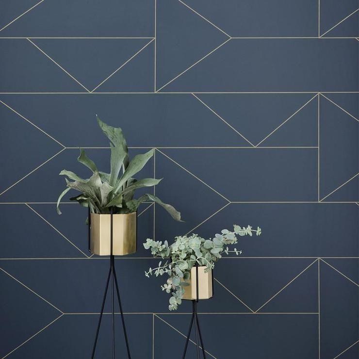 Gold Lines Navy Blue Wallpaper Lines Wallpaper Geometric Wallpaper Wall Painting