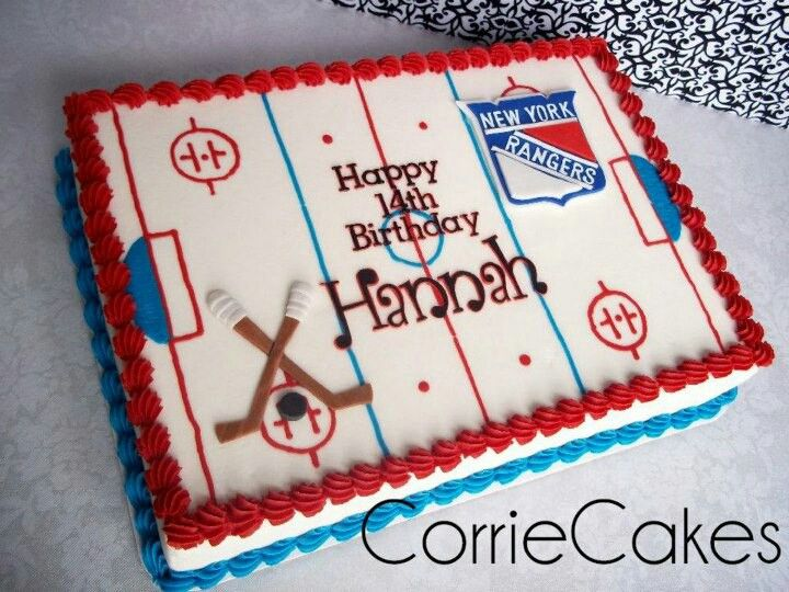 Magnificent Hockeu With Images Hockey Birthday Cake Hockey Birthday Personalised Birthday Cards Cominlily Jamesorg