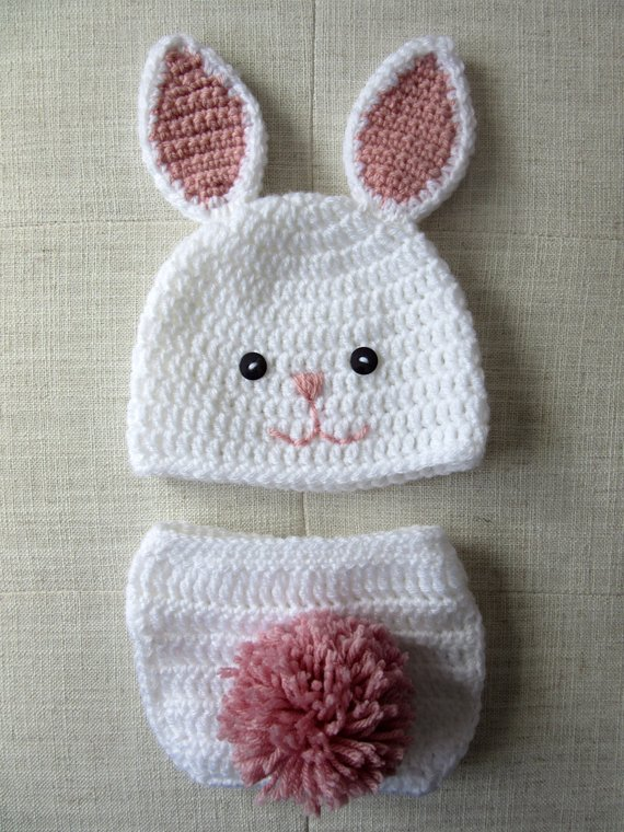 f23bbafbe Crochet bunny hat and diaper cover set, baby bunny hat, crochet ...