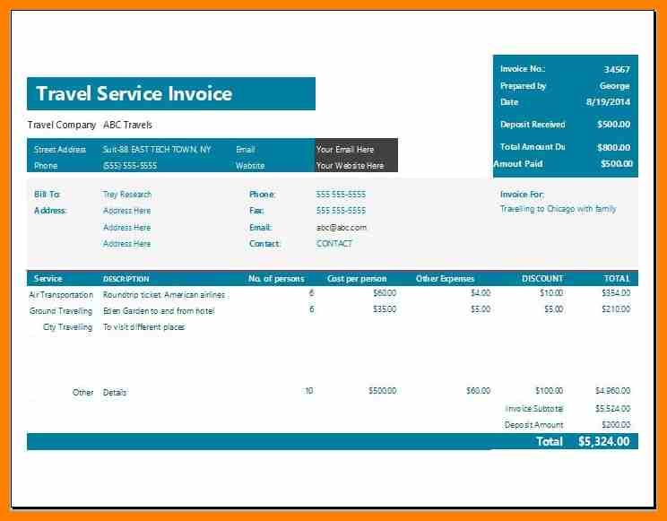 8 Tour And Travels Bill Format Target Cashier Invoice Format