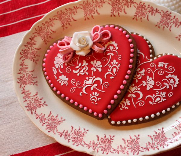 stenciled heart cookies cookie decorating valentines day heart cookie by julia usher red white - Decorated Valentine Cookies