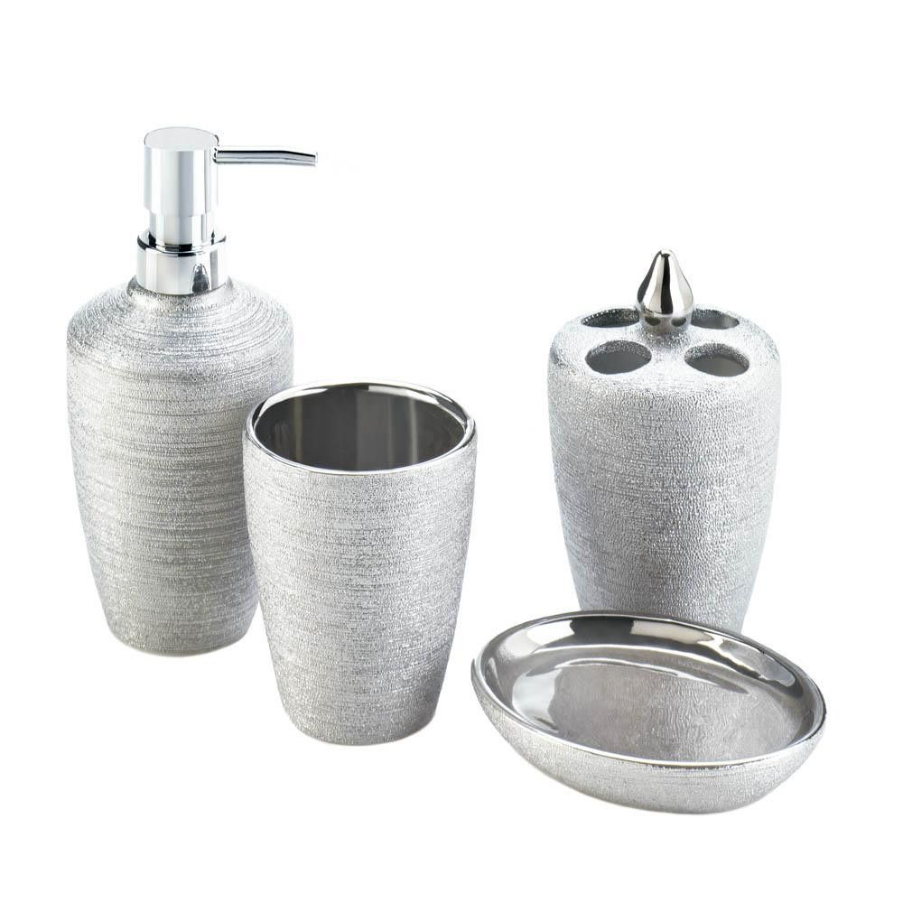 Silver Shimmer Bath Accessory Set Bath Accessories Set Bath