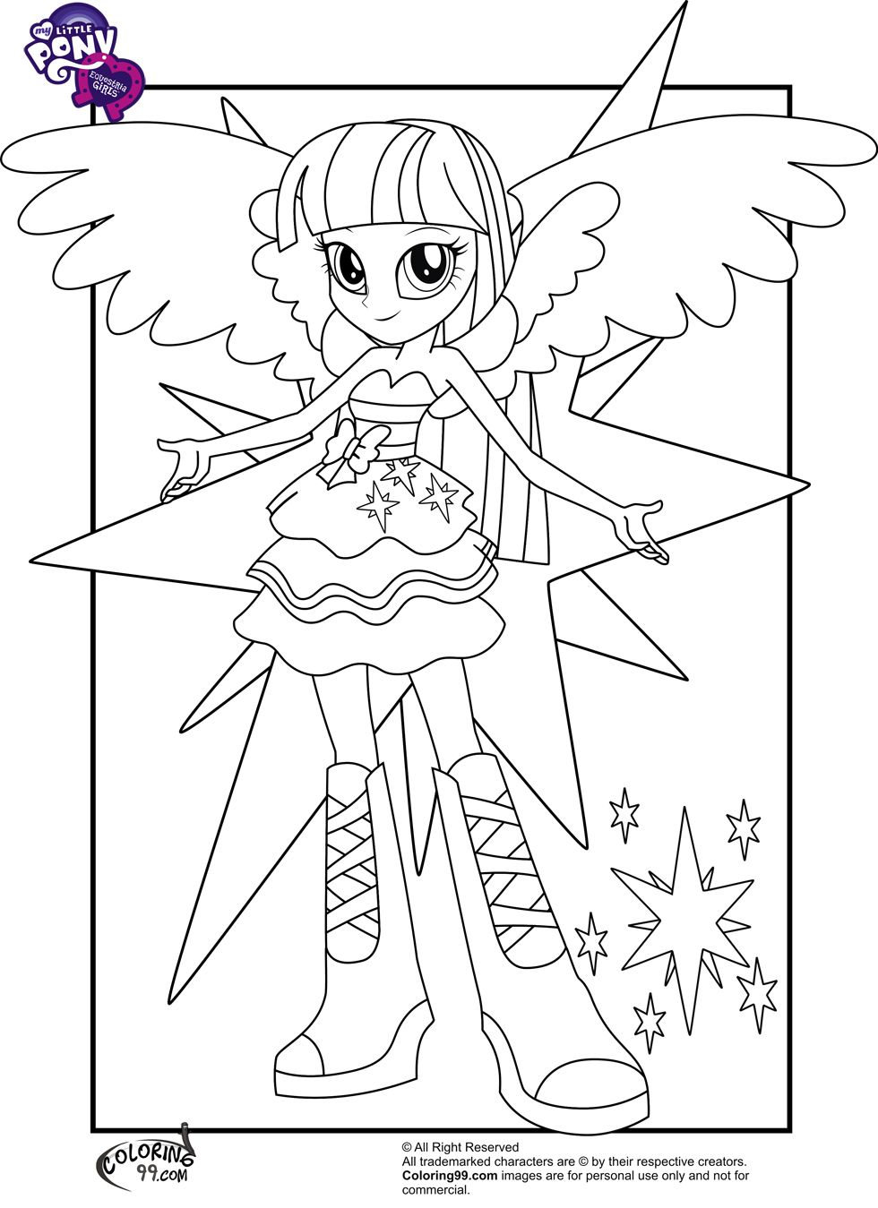 My Little Pony Equestria Girls Twilight Coloring Pages Sketch Coloring Page