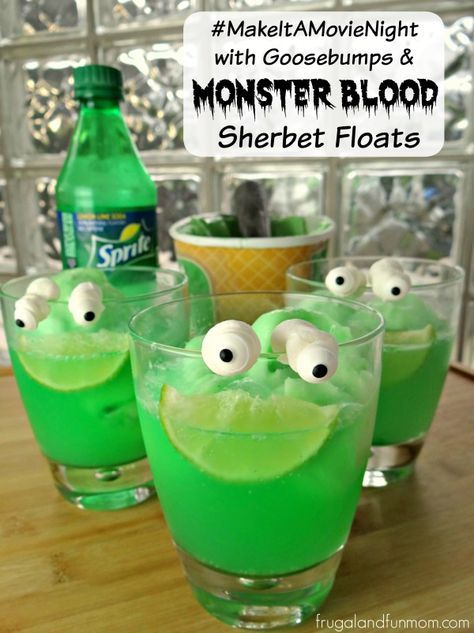 Goosebumps Inspired Monster Blood Sherbet Floats With Lawn Gnome - halloween drink ideas for kids