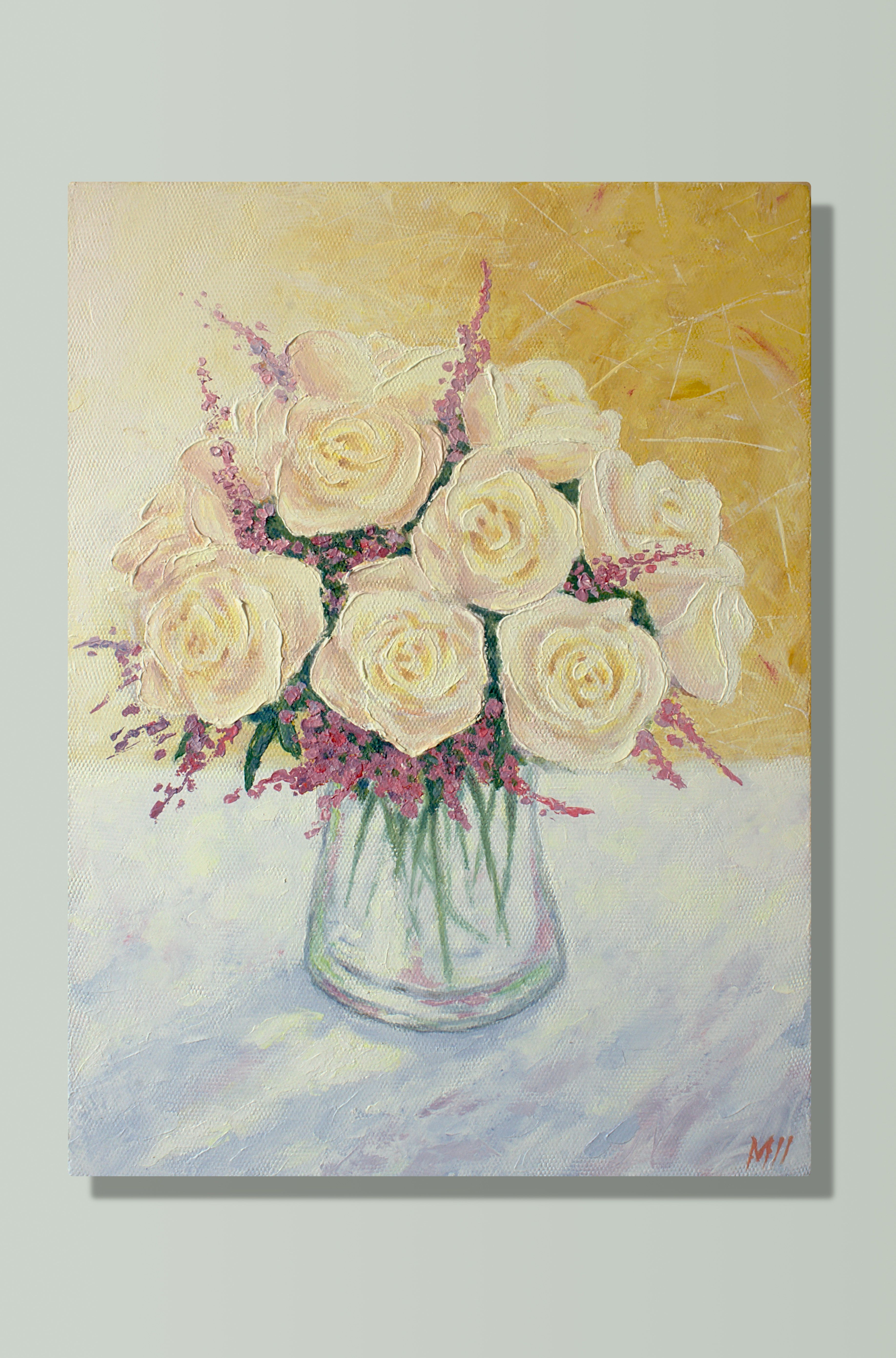 Abstract floral painting, Acrylic flower painting, Impasto