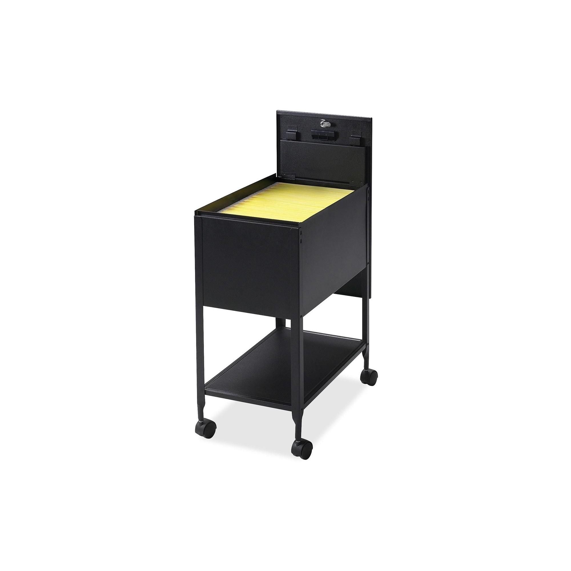 Lorell vertical filing cabinet mobile cart steel black