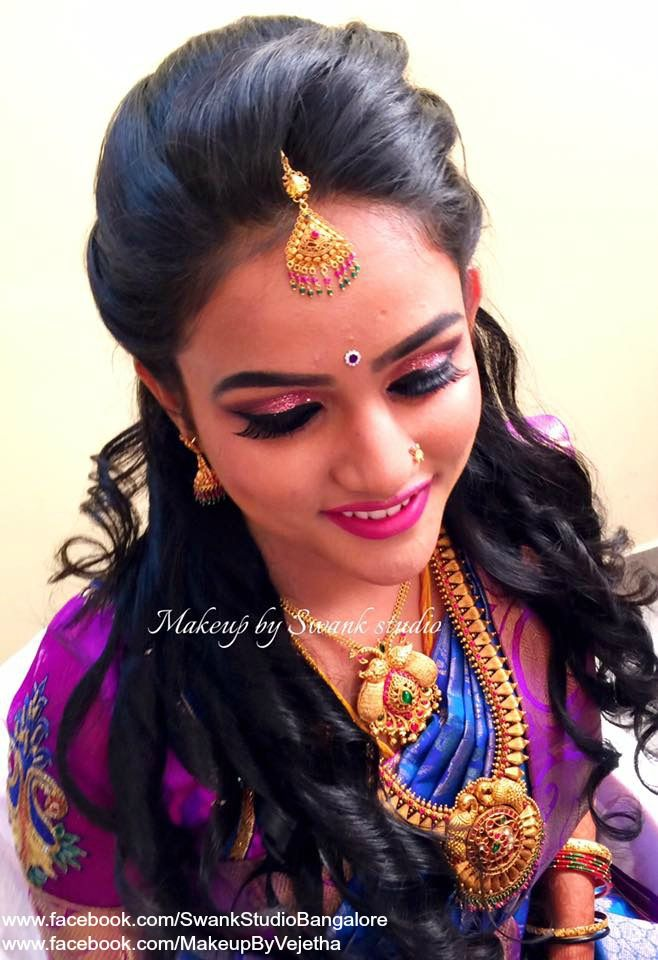 Traditional Southern Indian Bride Kruthika Wears Bridal Silk Saree And Jewellery For Her Reception Ceremony