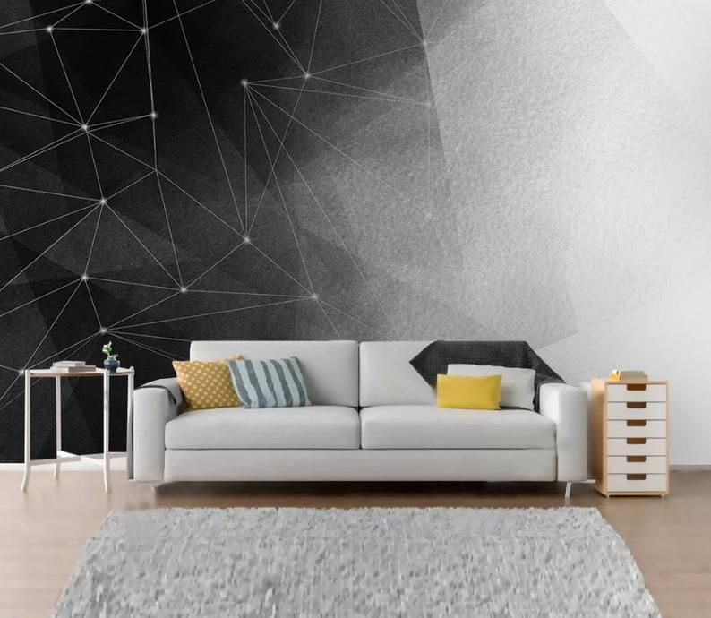 3d Abstract Star Black And White Geometric Line Wallpaper Etsy Lines Wallpaper Home Wallpaper Wallpaper Living Room