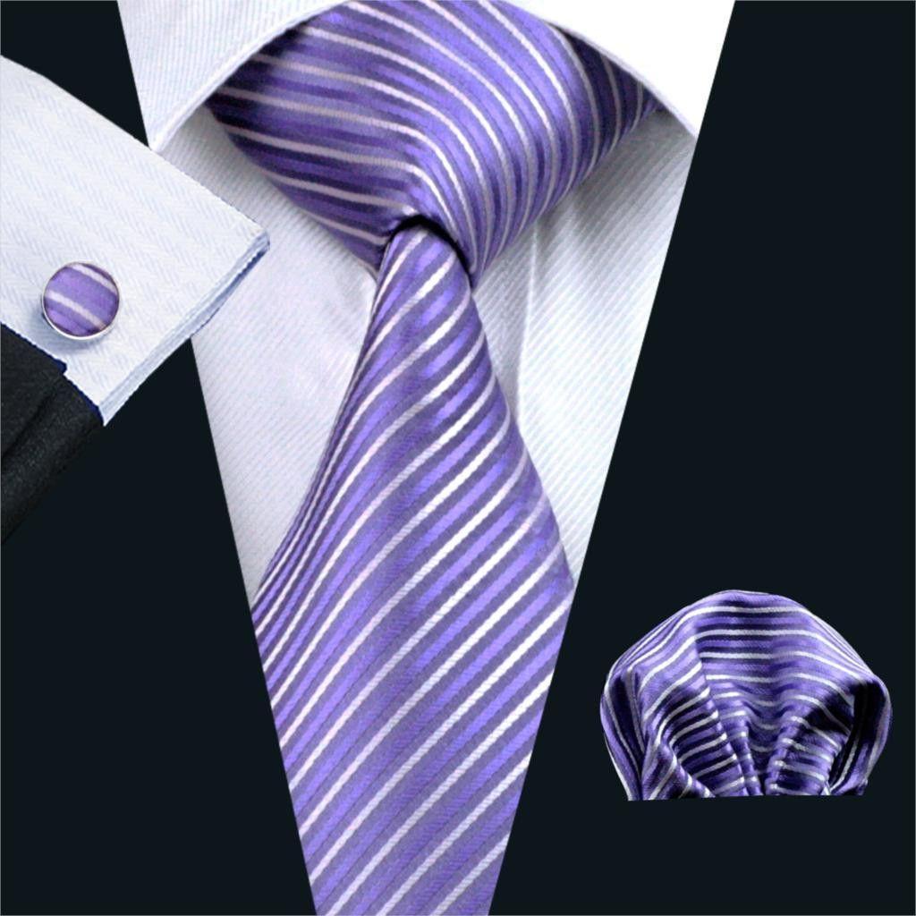 FA-313 Gents Necktie Purple Stripe 100% Silk Jacquard Tie Hanky Cufflinks Set Business Wedding Party Ties For Men Free Shipping