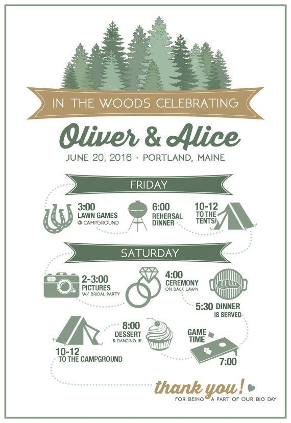 In The Woods Wedding Itinerary  Wedding Timeline Of Events