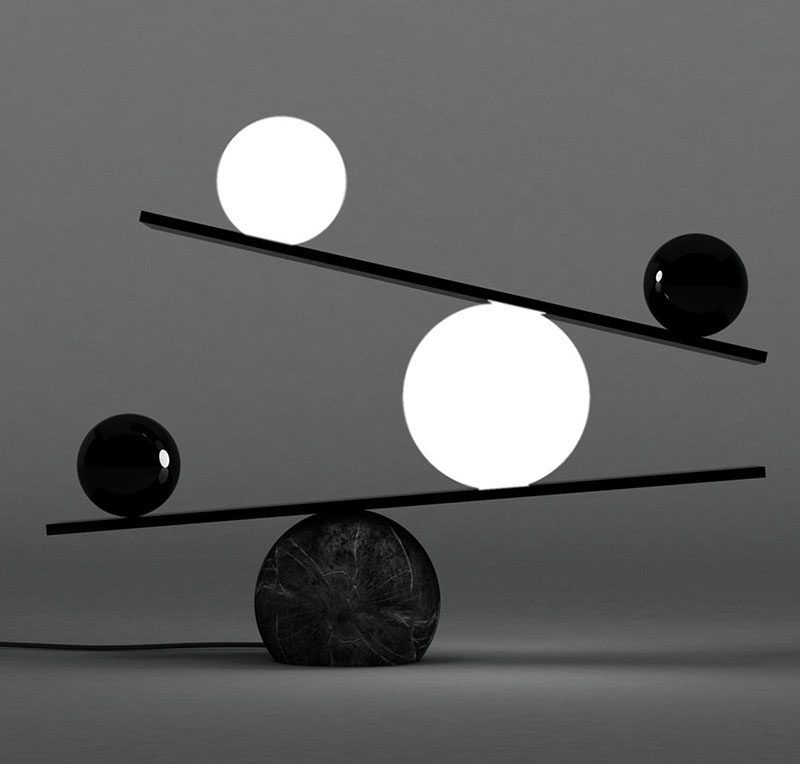 Unique Modern Lamp The Balance Table Designed By Victor Castanera For Manufacturer Oblure Is A That Creates Look Of Between Dark And
