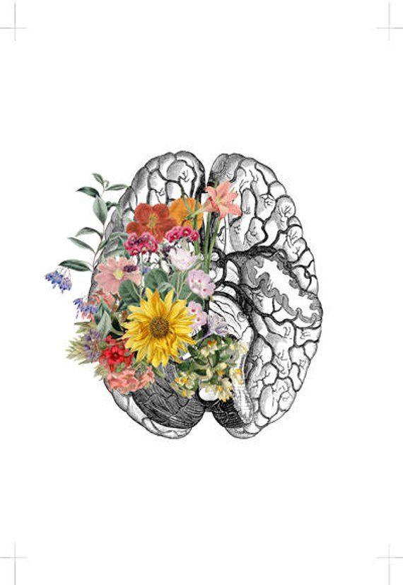 Springtime Brain Nature Anatomy - Brain Flower - A