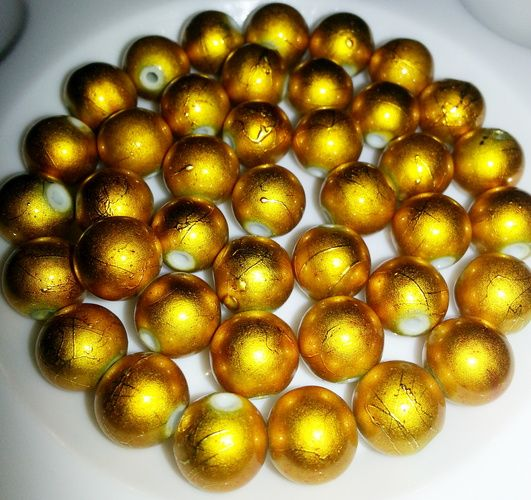 40pcs 9mm Bright Yellow Gold Drizzled Glass Beads!! . Starting at $5