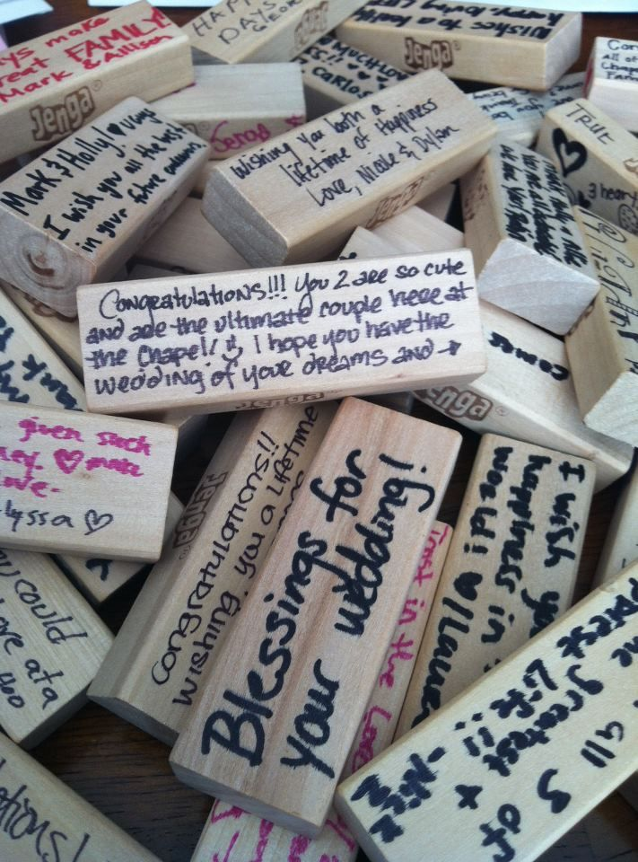 Jenga...well wishes written on Jenga pieces from my chapel