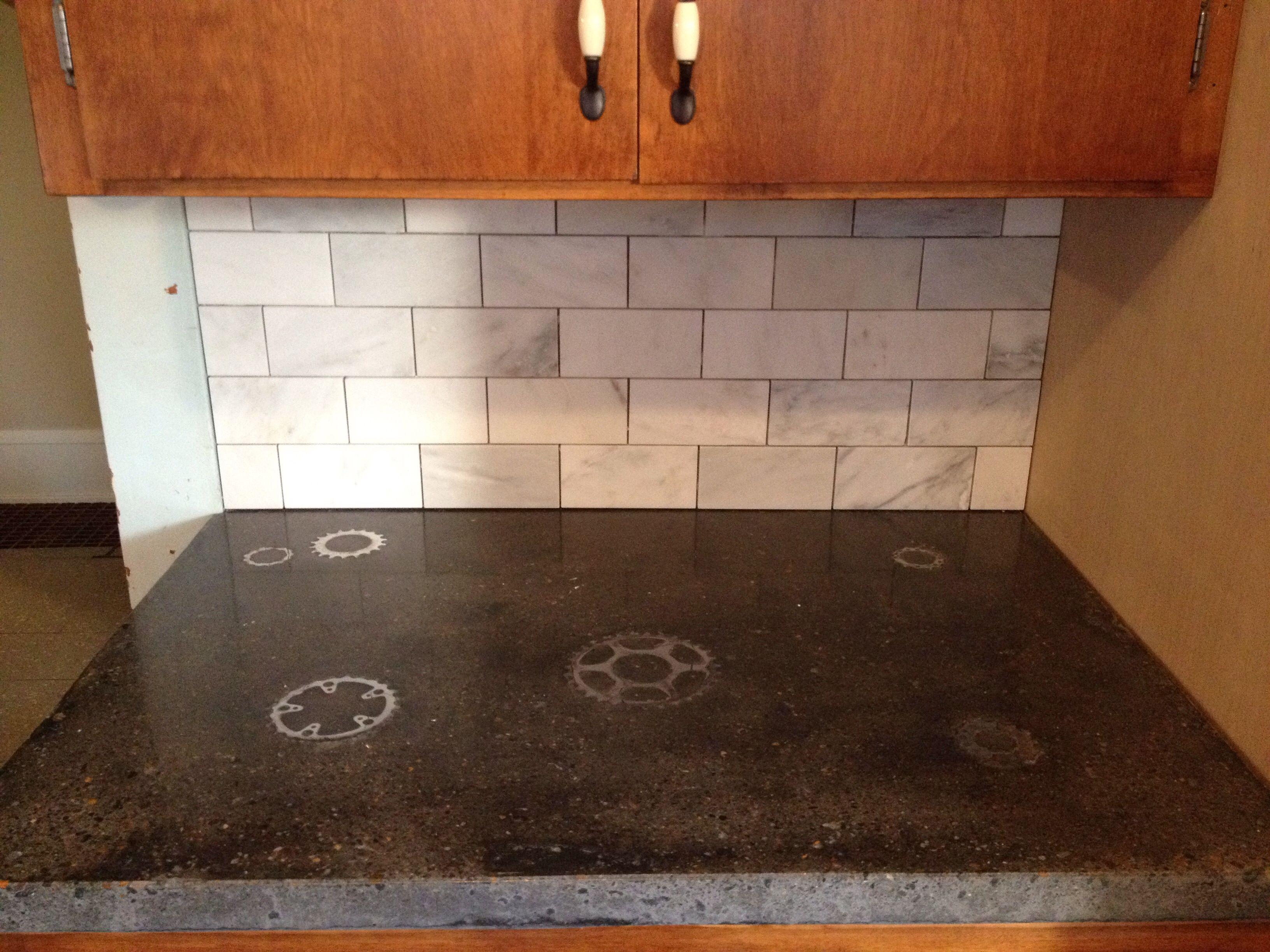 Nautilus shell inlay in concrete countertop | Kitchen | Pinterest ...