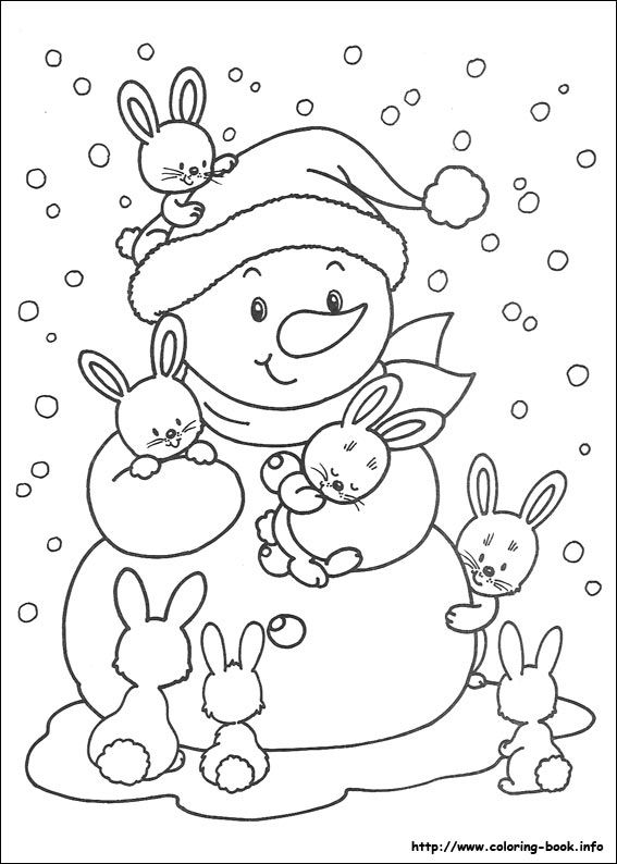 Snowman Winter Free Christmas Coloring Pages For Kids Winter