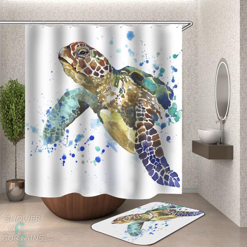 Art Painting Turtle Shower Curtain - HXTC0909
