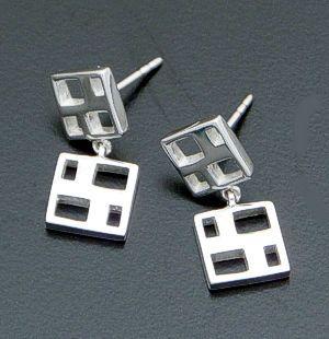 Zina - Windows Two Piece Sterling Silver Dangle Earrings #37285 $65.00 at Castle Gap Jewelry #jewelry
