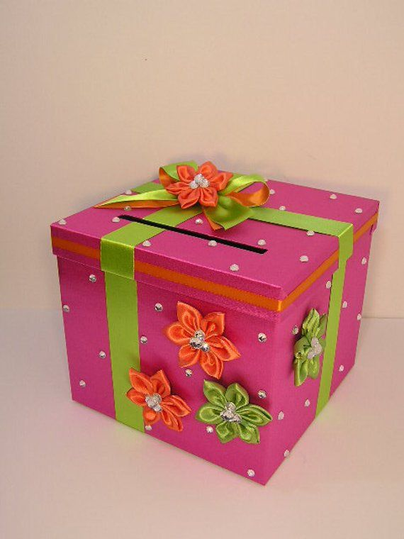 wedding quinceañerasweet 16 card box hot pink and lime
