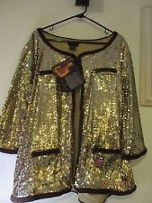 Womens Iman Gold Sequin 2X Velvet Trimmed Dressy Jacket NWT Brown Velvet Trim