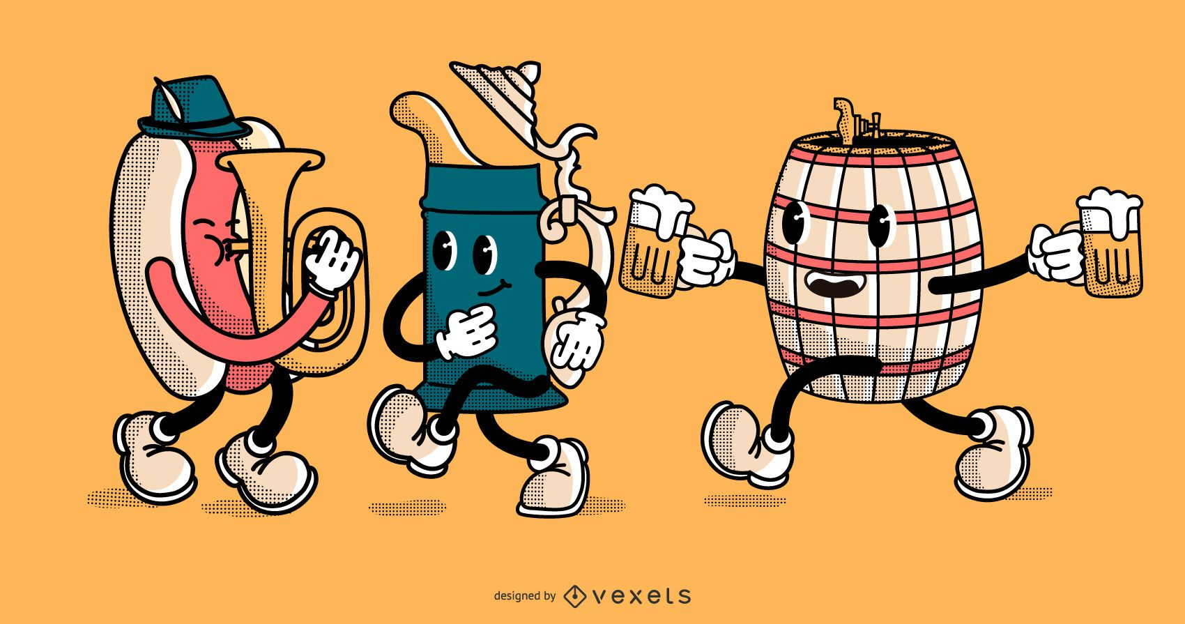 Check out these Oktoberfest cartoon characters, perfect