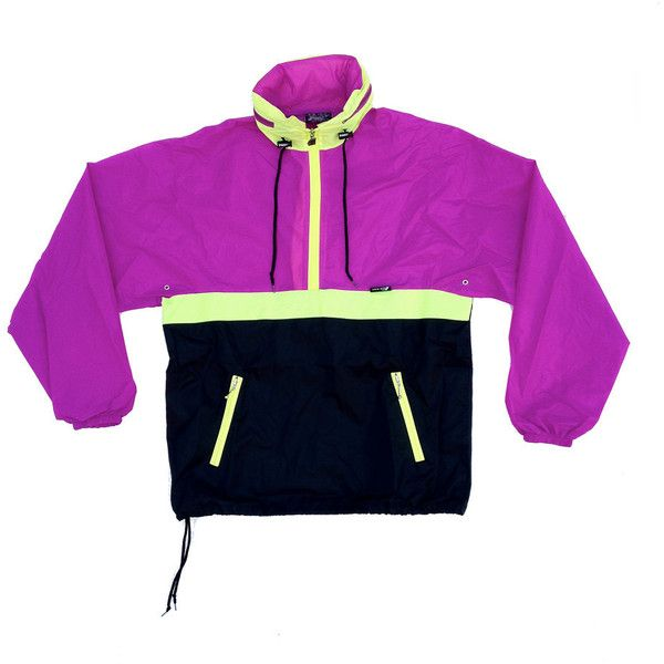 Totally 90s Neon KWAY Windbreaker M by NeonStockyards on Etsy (67 CAD) ❤ liked on Polyvore featuring activewear, activewear jackets, jackets, shirts., tops, shirts, fluorescent shirts, neon purple shirt, neon activewear and neon shirts