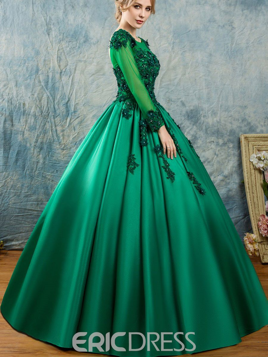efd971751 Ericdress Scoop Appliques Beaded Long Sleeves Quinceanera Dress 13104694 -  Ericdress.com