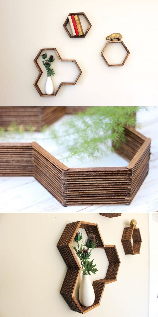 DIY Honeycomb Shelves (Made With Popsicle Sticks!) -   22 diy Shelves popsicle sticks ideas