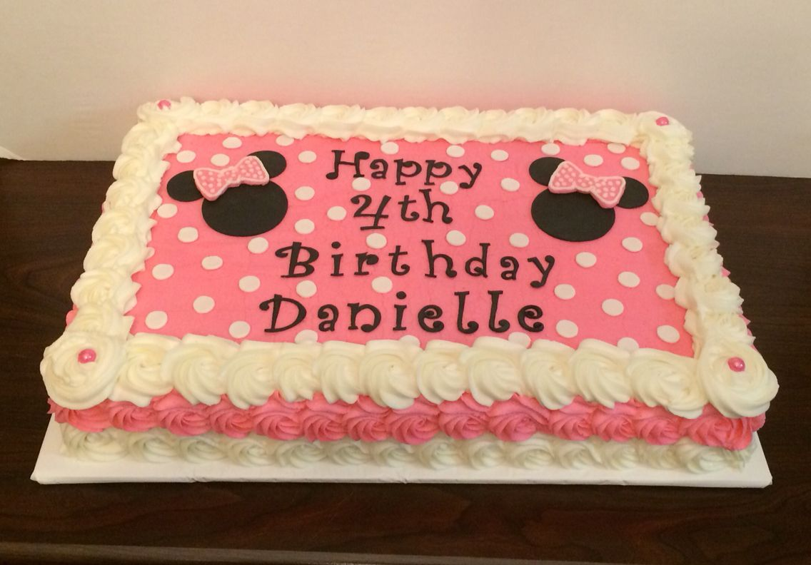 Minnie Mouse Sheet Cake With Buttercream Rosettes By Jillee S Goodees Minnie Mouse Birthday Cakes Minnie Mouse Birthday Minnie Birthday Party