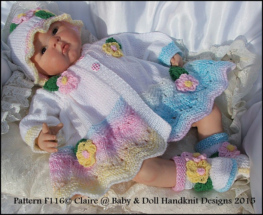 """Floral Coat, Hat & Boots Set for 16-22"""" doll / prem-3m+-knitting ..."""