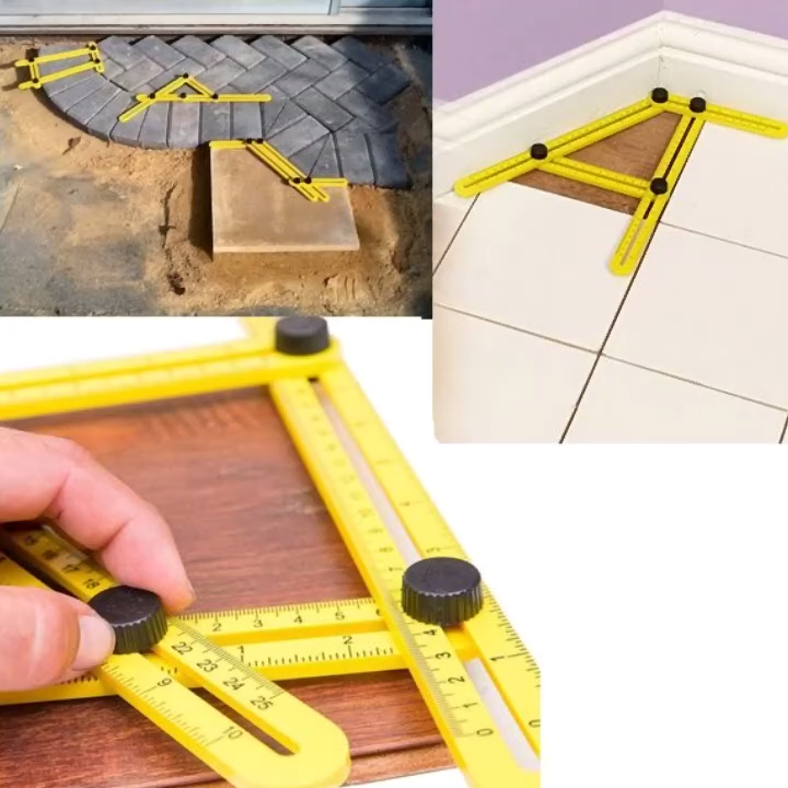 The Upgraded Aluminum Multi-Angle Folding Ruler will help you complete numerous home projects in no time. With the Multi-Angle Folding Ruler, you can measure awkward and hard to trace angles become effortlessly. This remarkable tool handles all sorts of measurements easily- including plumb cuts, radius cuts, bulls eyes, arches and many other unique shapes.