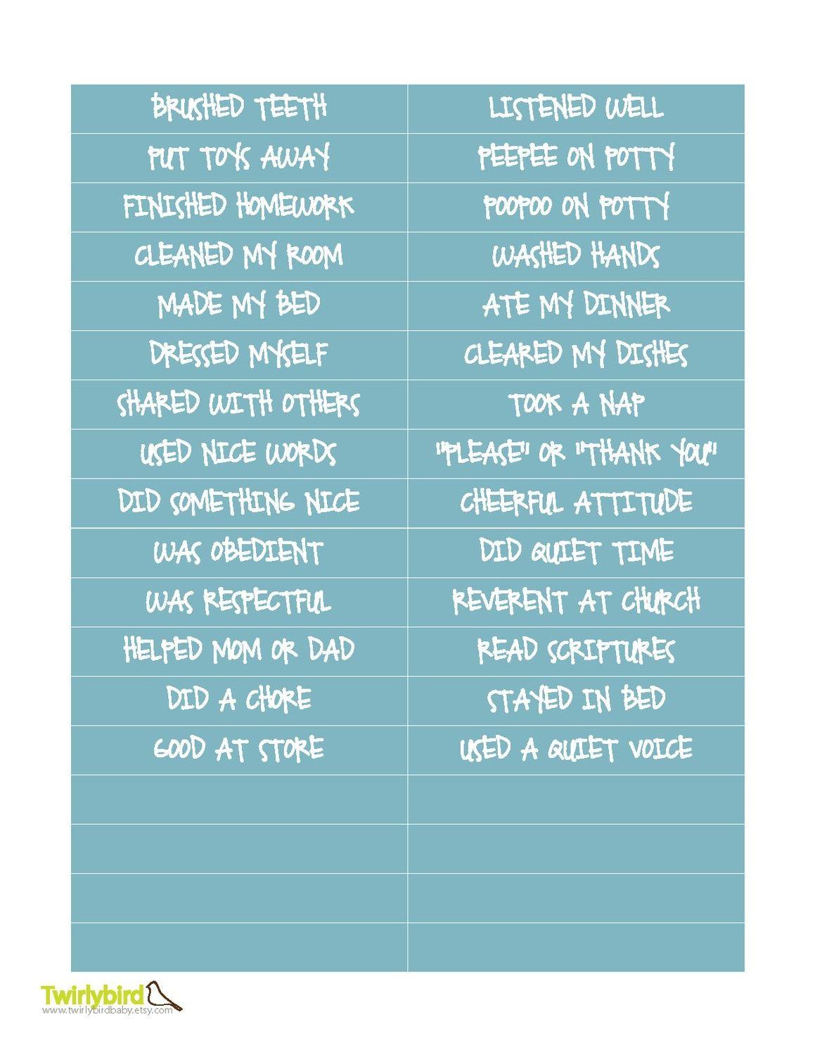 Behavior Sticker Charts