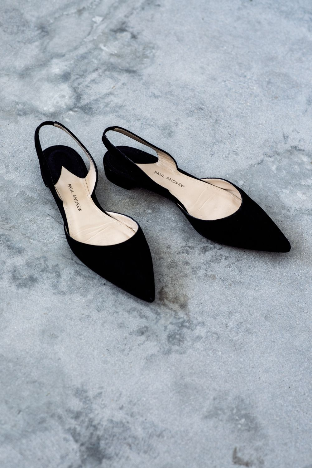 10650b0bbf paul andrew black suede pointed black slingback flats Harper and Harley