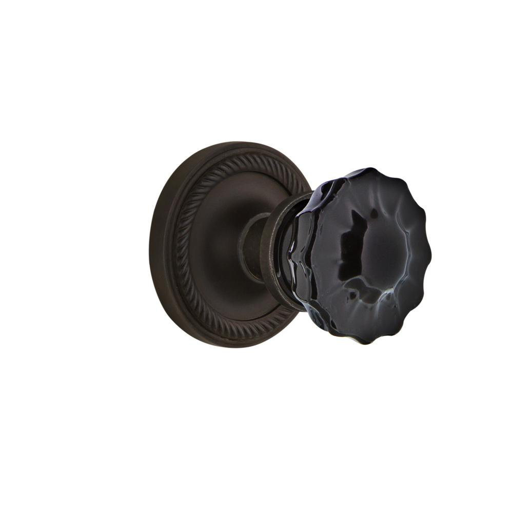 Rope Rosette 2-3/4 in. Backset Oil-Rubbed Bronze Privacy Crystal Black Glass Door Knob