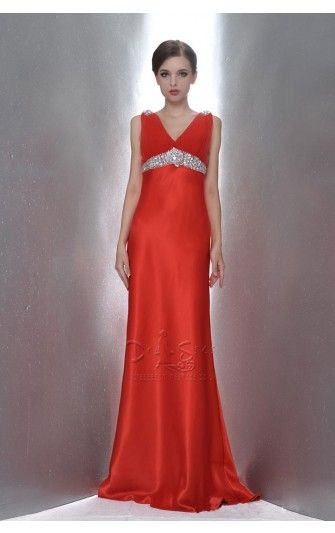 Alluring Floor-length Sheath Red Satin Straps With Beading Dress