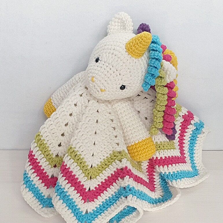 Sweet Unicorn Lovey Pattern | Security Blanket | Crochet Lovey ...
