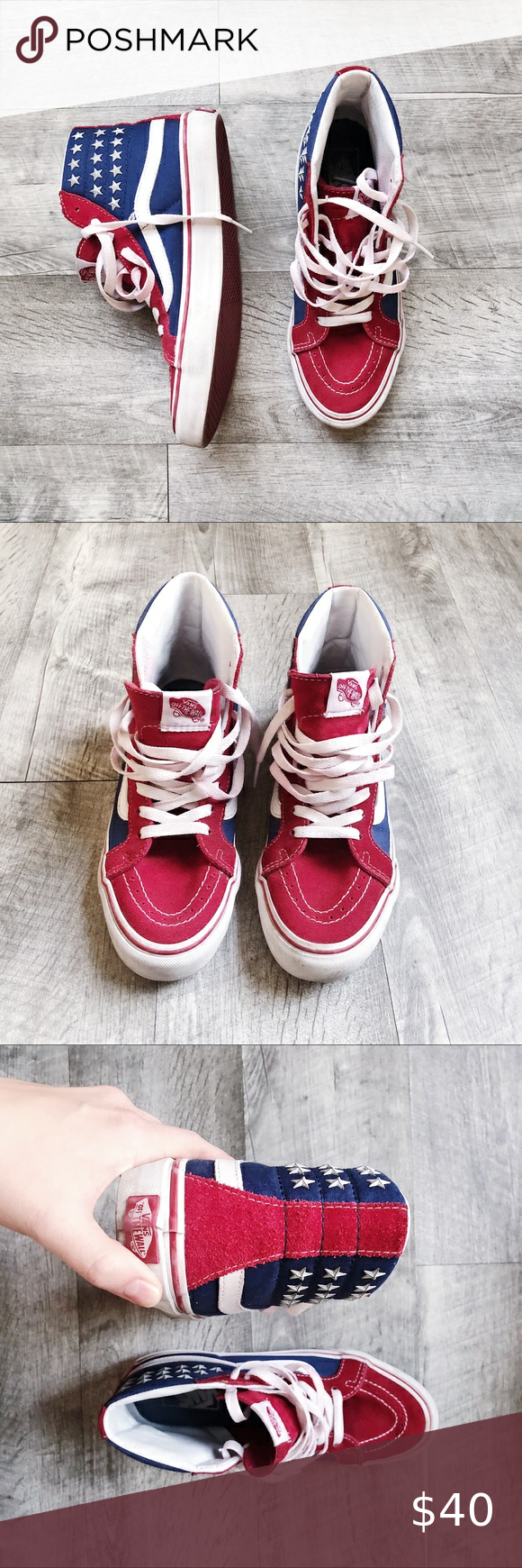 USA Star-studded high tops by Vans Patriotic high tops by Vans. Star studs. Velv…