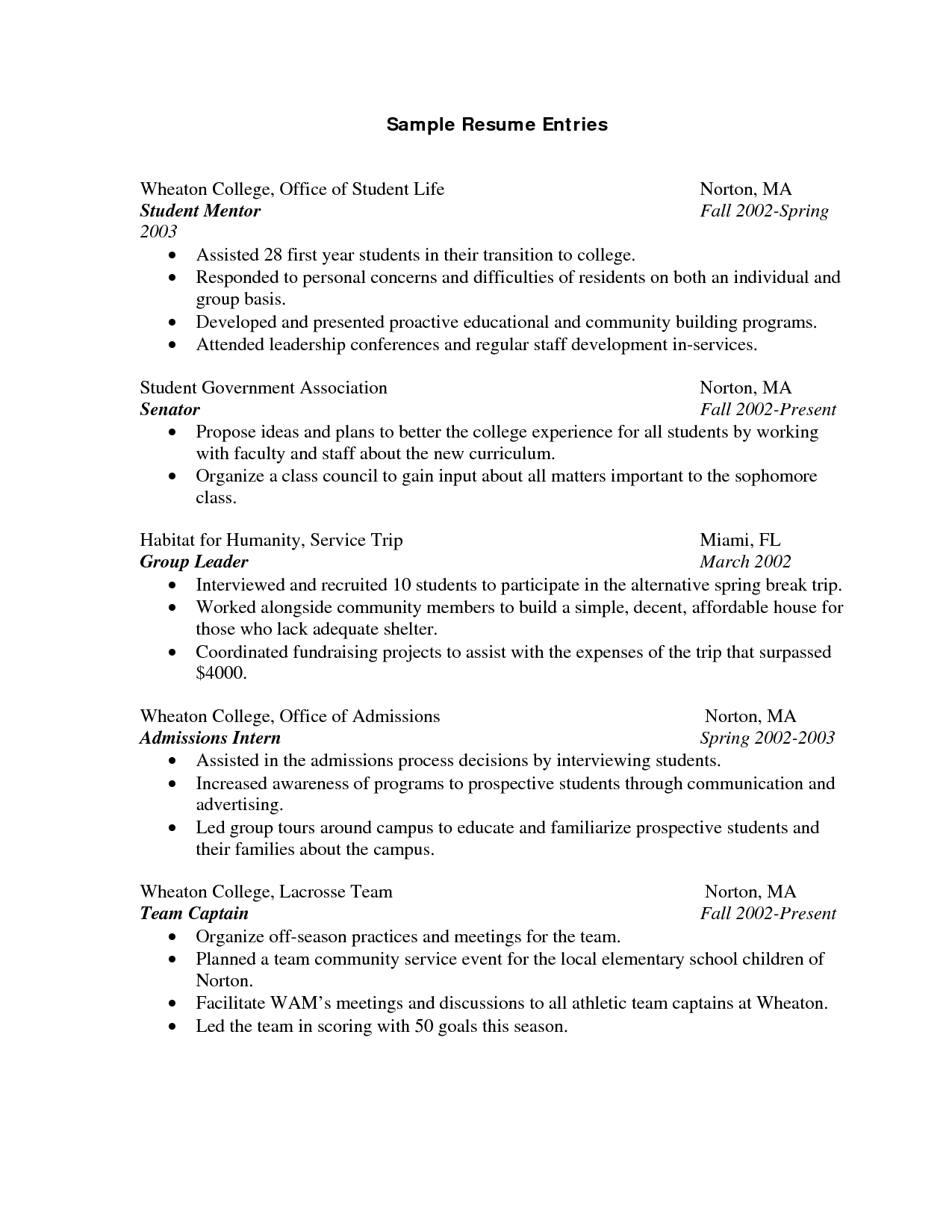 Resume Format Samples Resume Template For College Students  Httpwwwresumecareer
