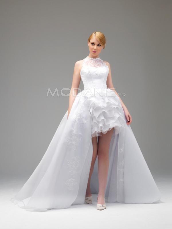 Robe de mariée civile  http://www.modanie.fr/robe-de-mariee-civile-pas-cher-organza-asymetrique-amovible-sur-mesure-produit-7053.html