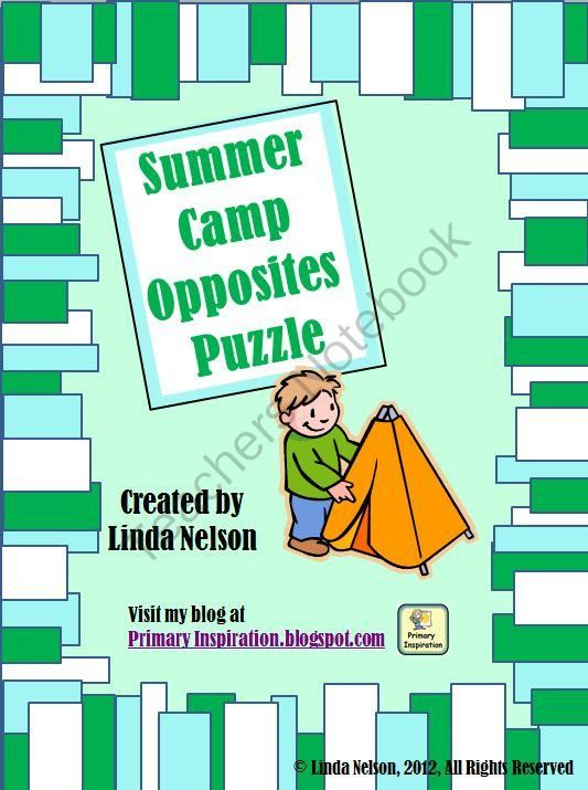 Summer Camp Opposites Puzzle from PrimaryInspiration on TeachersNotebook.com (5 pages)
