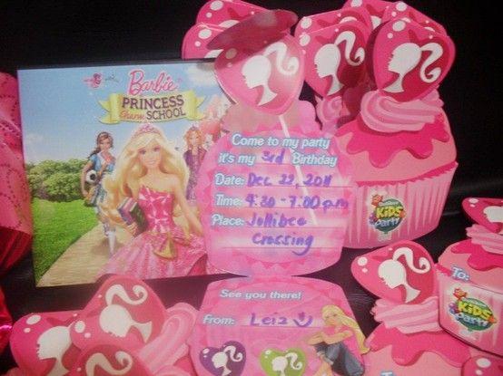 3rd birthday party invite barbie princess charm school theme 3rd birthday party invite barbie princess charm school theme jollibee stopboris Choice Image