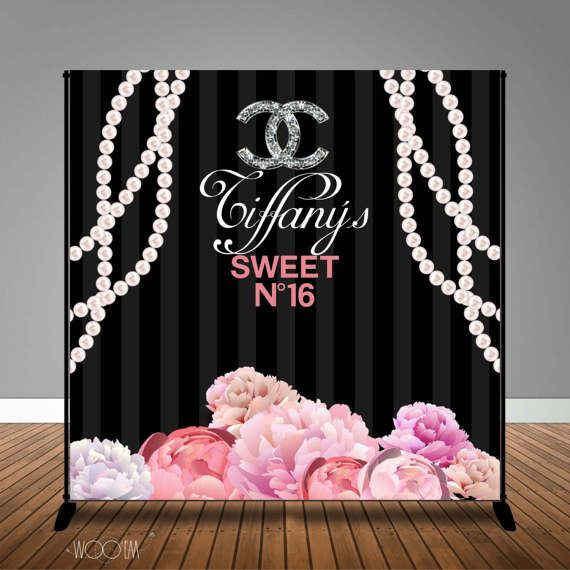Chanel Inspired Sweet 16 Banner Backdrop X2f Step Amp Repeat By Wooem Chanel Party Backdrops For Parties Sweet 16 Themes