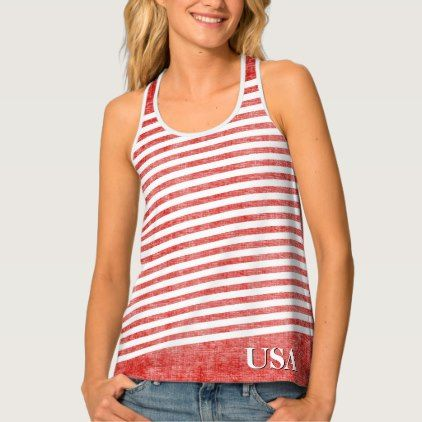 #monogram - #Personalize:  USA Red and White Patriotic Stripes Tank Top