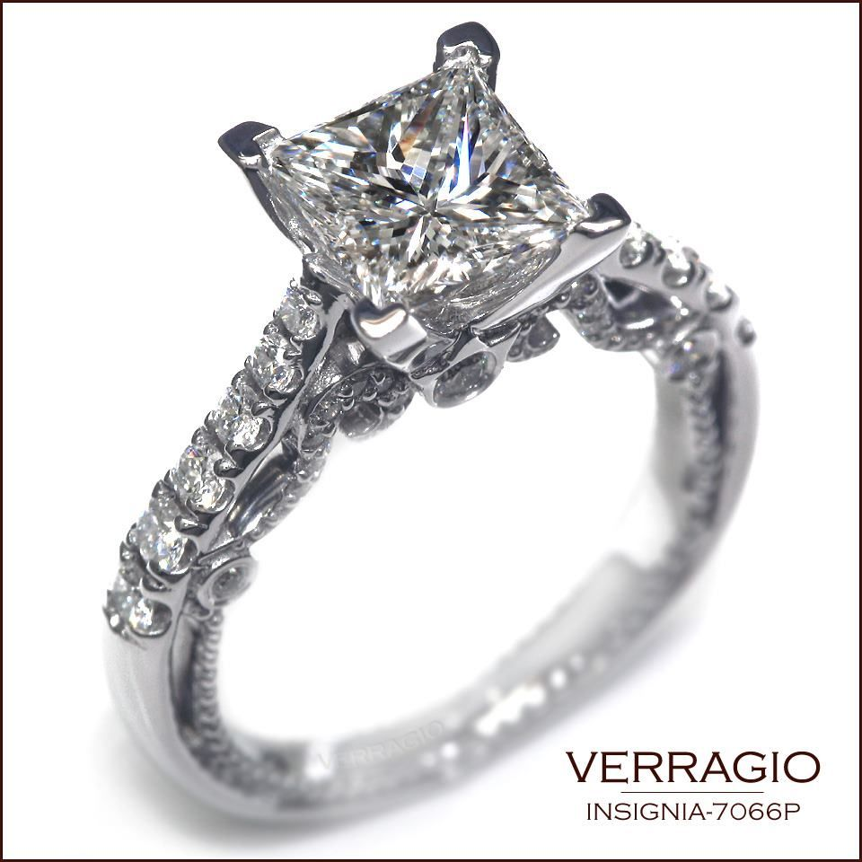 Insignia-7066P features antique beading, and round cut diamonds on band that lead up to this brilliant Princess cut center.
