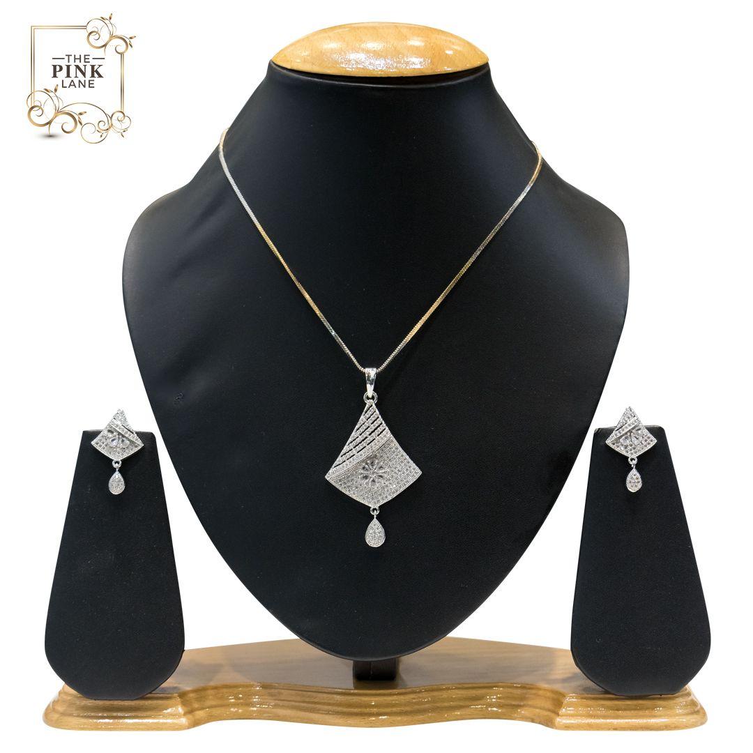 American Diamond Pendant Set for Women