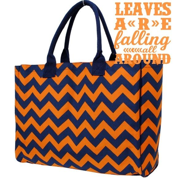 "Navy & orange chevron print shopping tote bag Brand new| Canvas material| Small zipper pouch inside| Open bag (no zipper or button closure)| Dimensions: 14"" (H) x 16"" (L) x 8""(W)